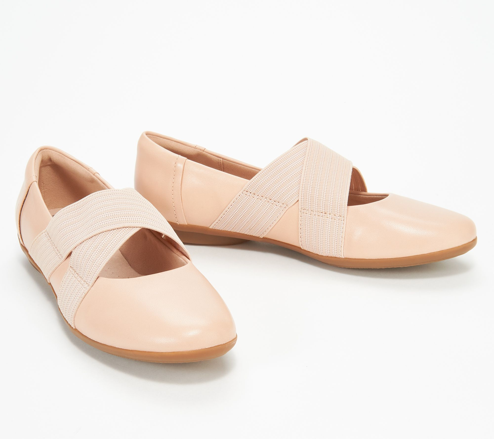 0600b3c91ad7 Clarks Collection Leather Cross- Strap Flats - Gracelin Shea - Page 1 —  QVC.com