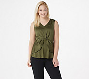 Du Jour V-Neck Woven Top with Layered Hemline - A352926
