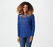 As Is Quacker Factory Multi Sequin Hacci Long Sleeve Top - A380826