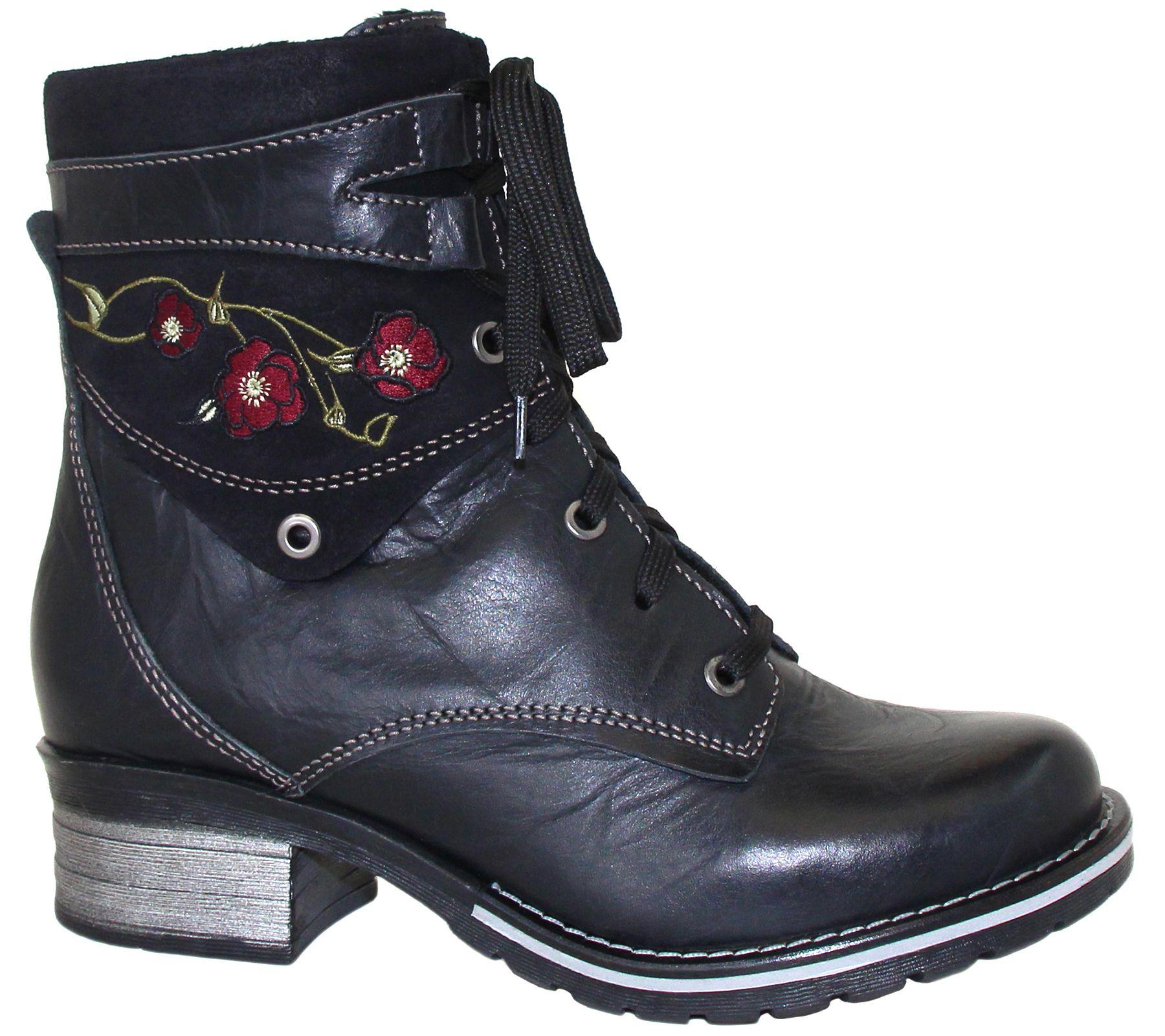 aec6e0e73526 Dromedaris Leather Lace Up Ankle Boots - Kara Embroidery — QVC.com