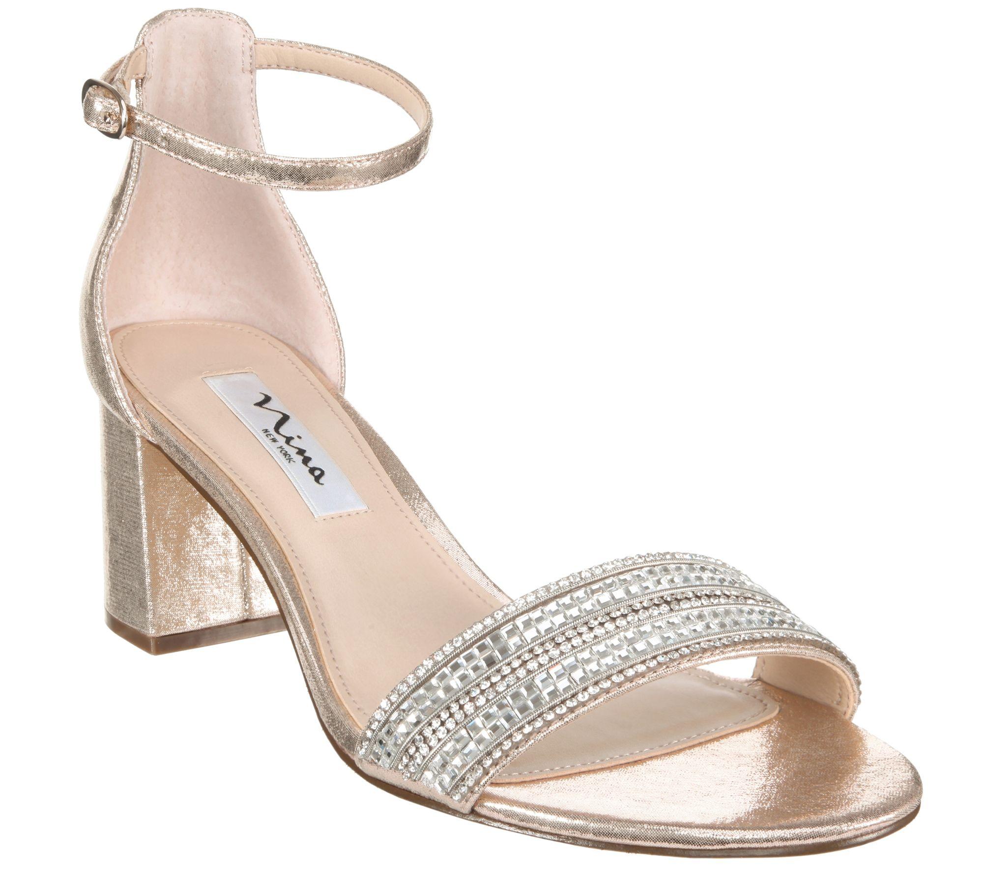 11177b20d223 Nina Block Heel With Crystal Strap Sandals - Elenora — QVC.com