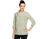 Denim & Co. Seersucker Gingham 3/4 Sleeve Ruffle Shirt - A59526