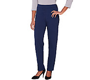 Joan Rivers Ponte Knit Pull-on Tuxedo Pants with Grosgrain Trim - A261727
