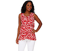 Susan Graver Printed Liquid Knit Sleeveless V-neck Tiered Top - A265827