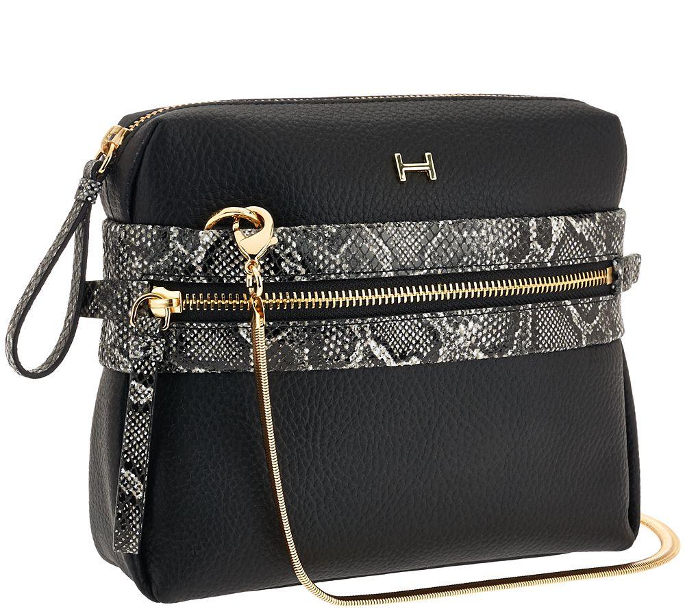 H by Halston Pebble Leather   Snake Print Crossbody Handbag - Page 1 —  QVC.com 23fa41804aca9
