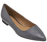 H by Halston Metallic Embossed Python Pointed-toe Flats - Lucille - A271627