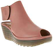 FLY London Peep-Toe Leather Wedge Sandals - Yone - A280927