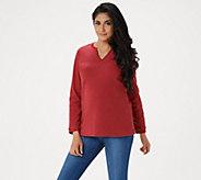 Denim & Co. Essentials Split V-Neck Chenille Fleece Long Sleeve Top - A284527