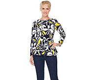 Susan Graver Printed Textured Knit Long Sleeve Top w/ Back Zipper - A285427