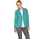 Isaac Mizrahi Live! Striped French Terry Knit Motorcycle Jacket - A286327