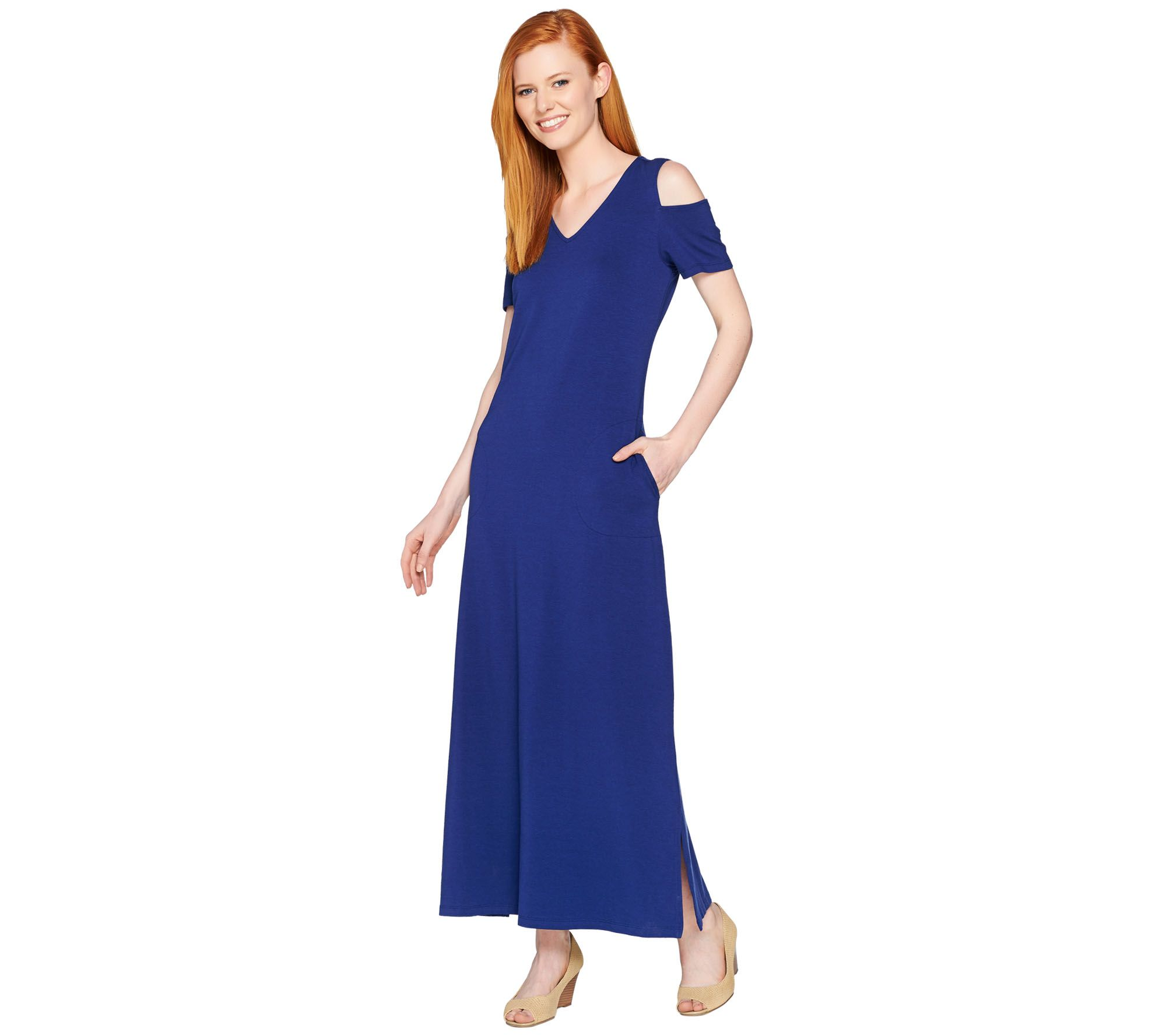 7b63cda6b29 Denim   Co. V Neckline Short Sleeve Cold Shoulder Maxi Dress - Page 1 — QVC .com