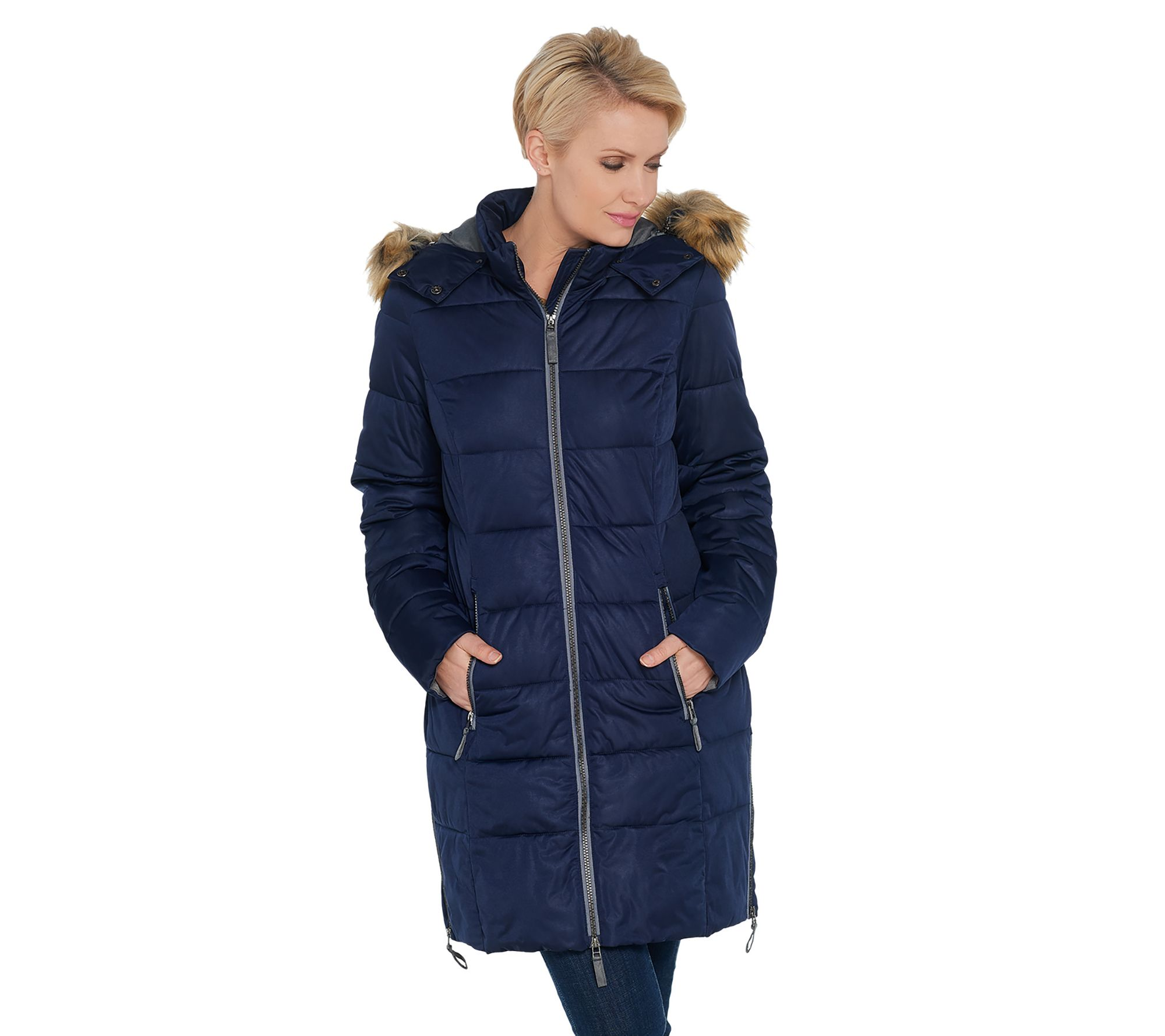 f8f638122 Nuage Women's Stretch Zip Front Puffer Jacket - Page 1 — QVC.com