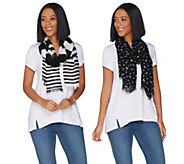 Isaac Mizrahi Live! Set of 2 Stripe and Polka Dot Scarves - A301427