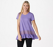 LOGO by Lori Goldstein Cotton Modal Embroidered Top w/ Ruffle Hem - A302427