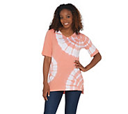Quacker Factory Tie-Dye Swirl Knit T-Shirt with Rhinestones - A308127