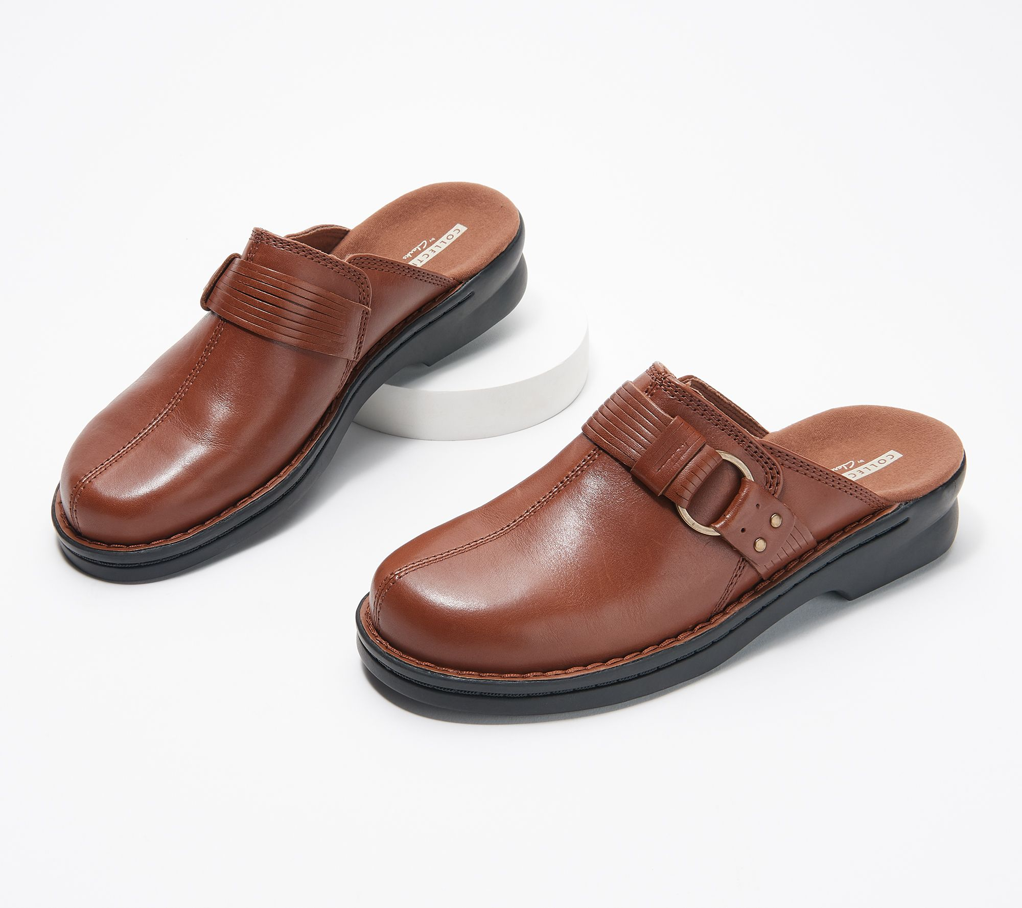 3fe9a8a1e138c1 Clarks Leather Slip-On Clogs - Patty Lorene - Page 1 — QVC.com