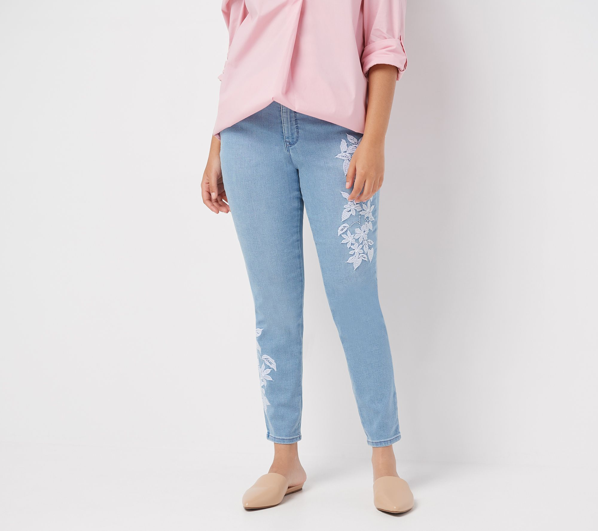 Martha Stewart Embroidered 5-Pocket Ankle Jeans Medium Peacock 16 NEW A309514