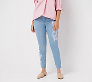 Martha Stewart Petite Embroidered 5-Pocket Ankle Jeans - A309527