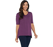 H by Halston Essentials V-Neck Elbow Sleeve Top w/ Hi-Low Hem - A311527