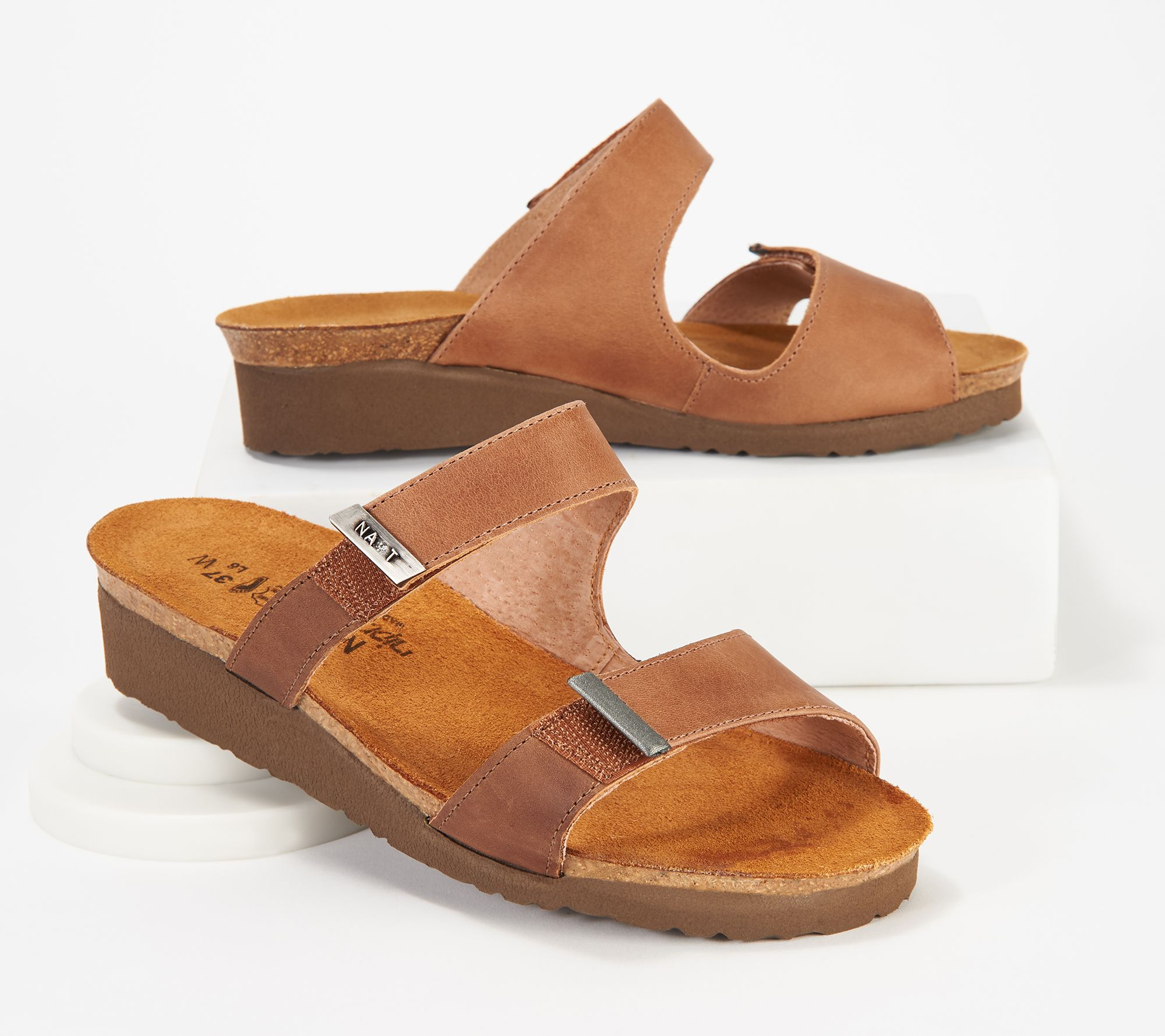 Naot Leather Slide Wedge Sandals — QVC.com fca50717a0f