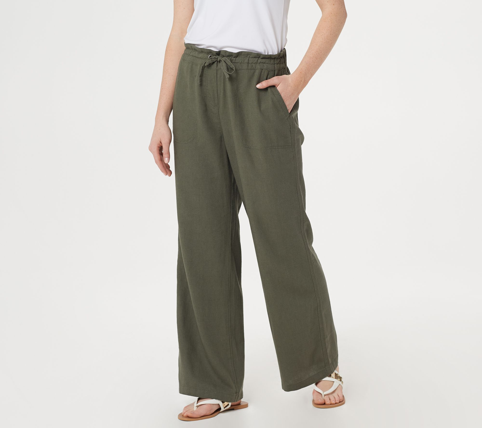 top-rated official baby hot product Denim & Co. Linen Blend Pull-On Full-Length Pants — QVC.com