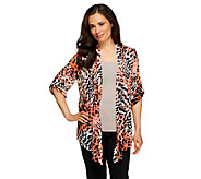 Susan Graver Printed Sheer Chiffon Cascade Front Cardigan with Pleats - A222428