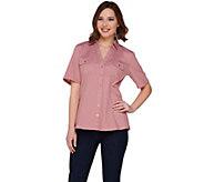Denim & Co. Stretch Denim Short Sleeve Camp Shirt w/ Roll Tab - A252728