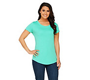 Isaac Mizrahi Live! Essentials Curved Hem Knit T-Shirt - A260928