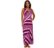 Lisa Rinna Collection Regular Stripe Printed Knit Maxi Dress - A263128