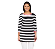 Susan Graver Weekend Striped Cotton Modal 3/4 Sleeve Tunic - A263828