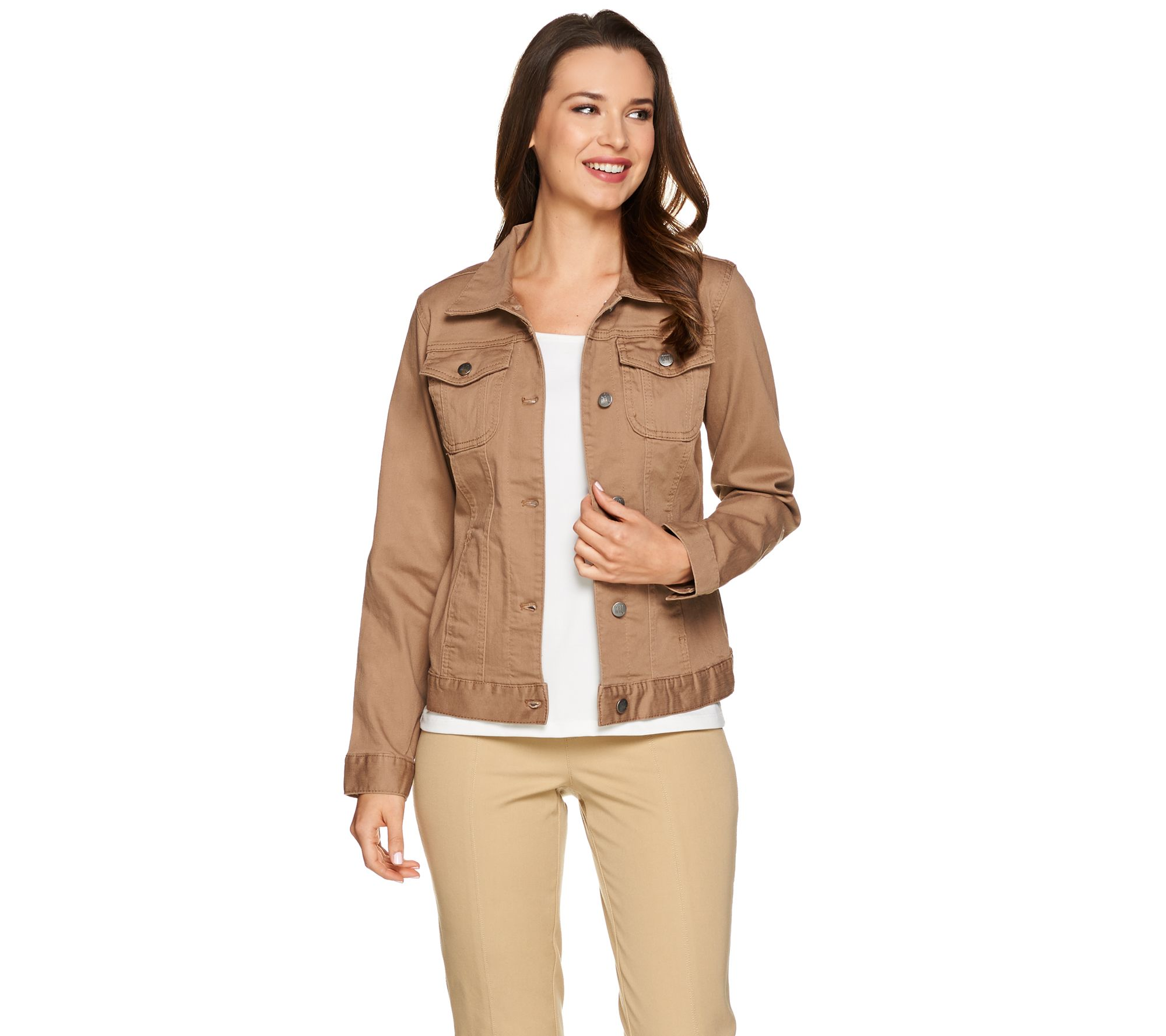 433daab8435e Women with Control Colored Denim Button Front Jean Jacket - Page 1 — QVC.com
