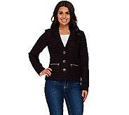 Isaac Mizrahi Live! Striped Jacket w/ Zipper Detail - A266828