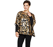 Bob Mackies Sequin Floral Caftan and Long Sleeve Knit Top Set - A283728