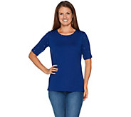 Quacker Factory Essentials Sparkle Elbow Sleeve Knit T-shirt - A292128