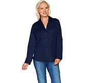 Isaac Mizrahi Live! Button Front Shawl Collar Utility Jacket - A293928