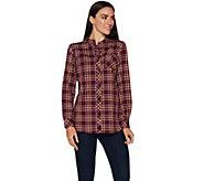 Denim & Co. Plaid Button Front Mandarin Collar Shirt - A296228