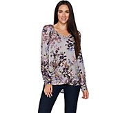 Kelly by Clinton Kelly Printed Woven Top with Neck Details - A297928