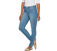 Martha Stewart Petite Ankle Jeans with Tuxedo Stripe Panel - A303228