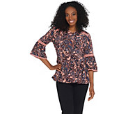 Denim & Co. Printed Paisley Bell-Sleeve Blouse w/ Trim - A309428