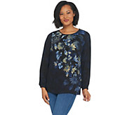 Linea by Louis DellOlio Placement Print Peasant Top - A343028