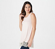 LOGO Layers by Lori Goldstein Tank with Lace Hem Detail - A343828