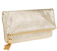As Is Isaac Mizrahi Live! Bridgehampton Metallic Leather Clutch - A347128