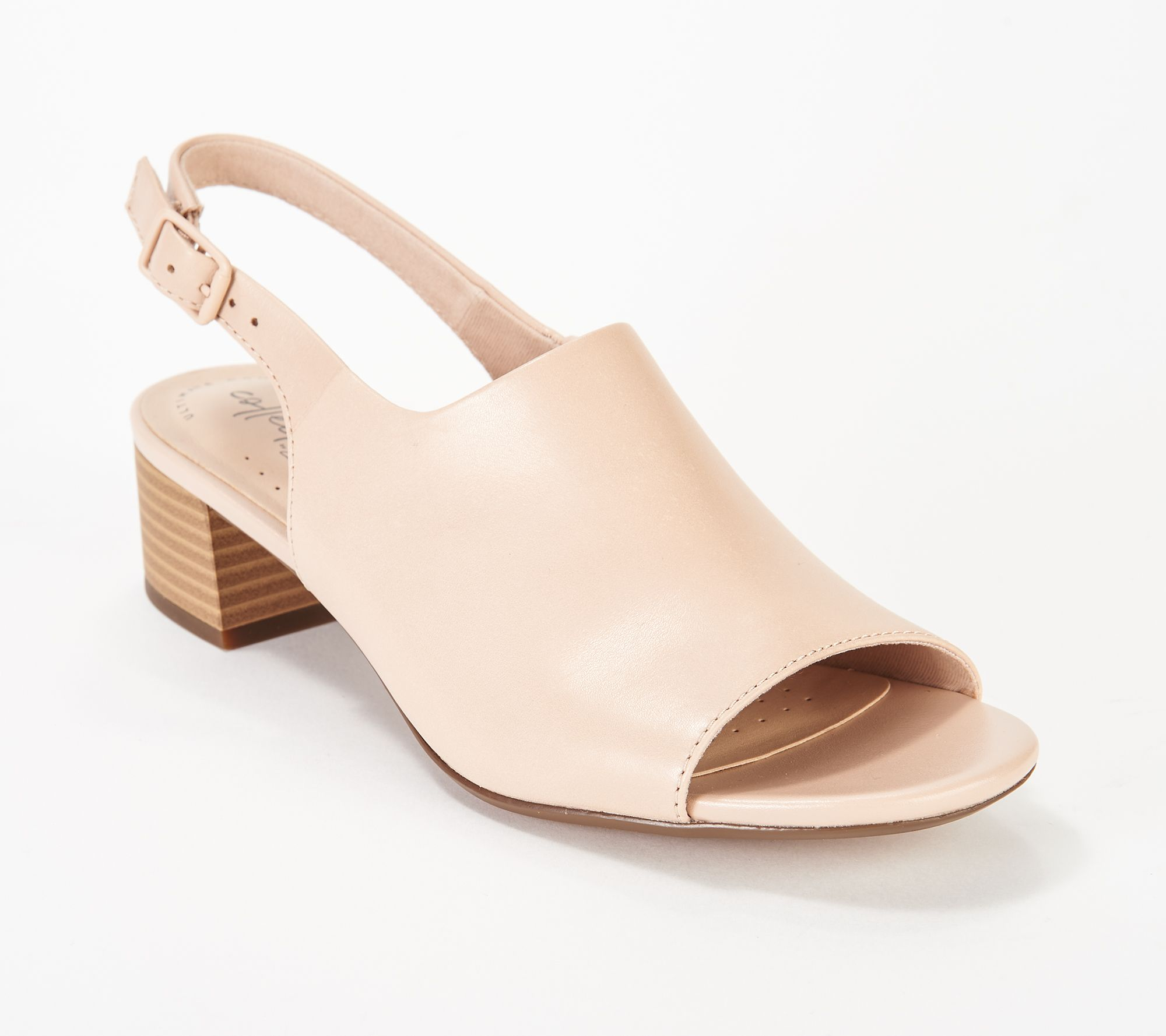 1acb6f032fe Clarks Leather Slingback Heeled Sandals- Elisa Kristie - Page 1 — QVC.com