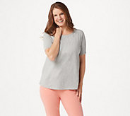 AnyBody Cozy Knit Short-Sleeve Swing Top - A349828