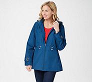 Susan Graver Water Resistant Zip-Front Jacket with Grommet Trim - A351428