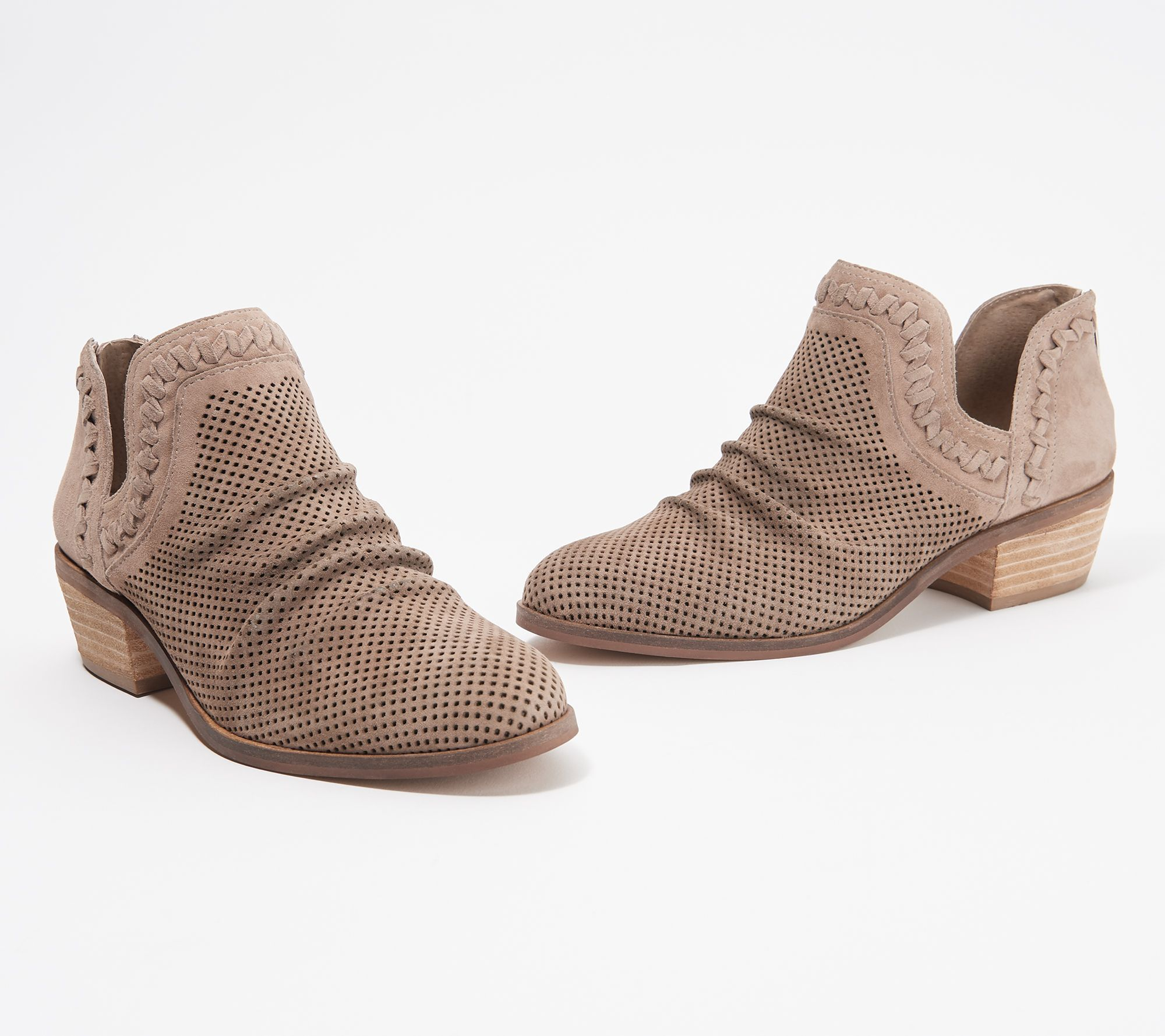 e41d66eebf0 Vince Camuto Perforated Suede Ankle Booties - Palmina — QVC.com
