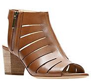 Clarks Artisan Leather Mid-Heel Peep-Toe Sandals - Deloria Ivy - A412128