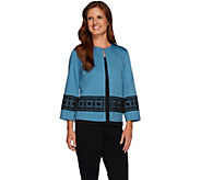 Bob Mackies Ponte Knit Jacket with Laser Cut Overlay Detail - A268229