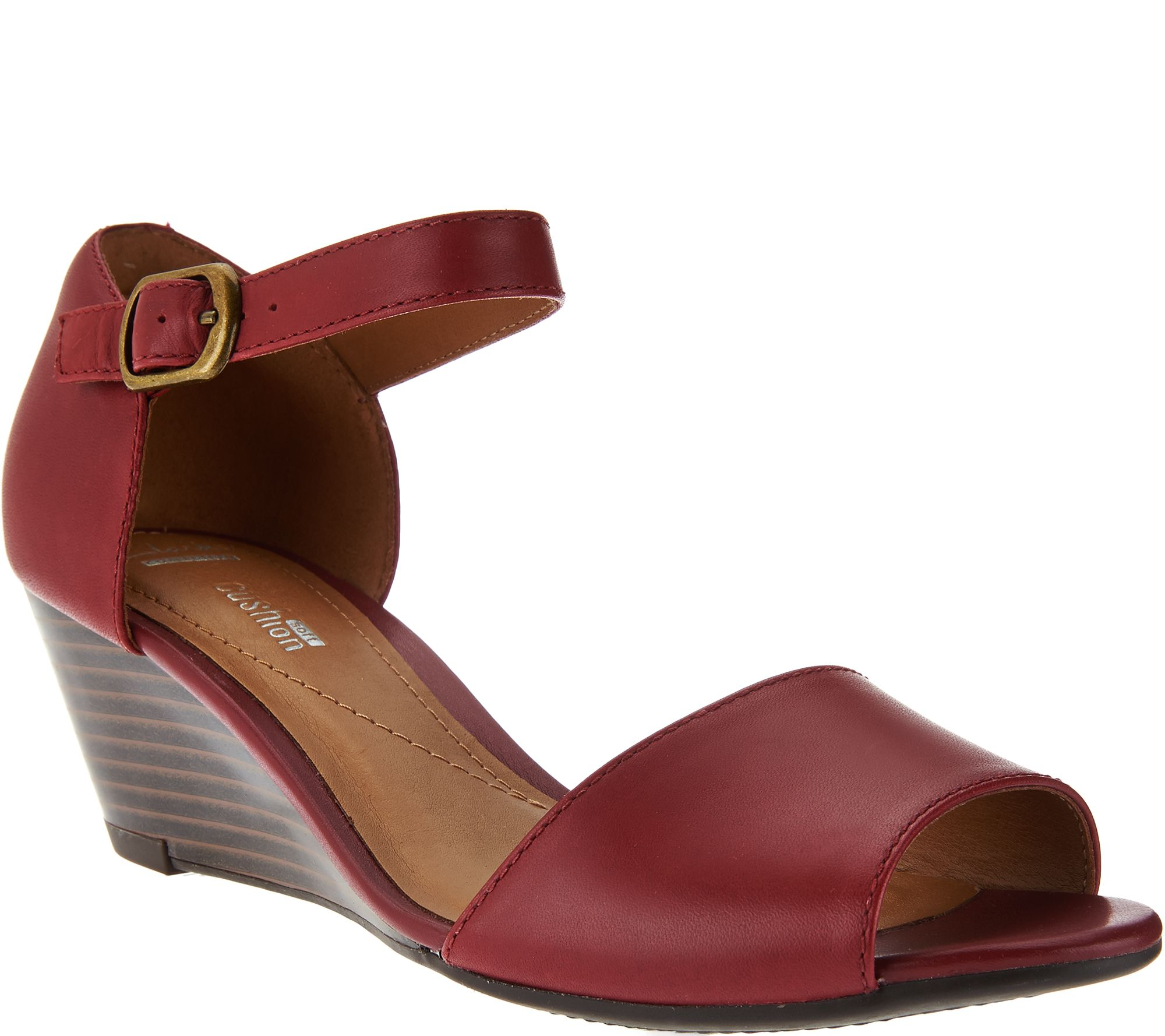 223cfd1a085d Clarks Leather Open Toe Wedge Sandals - Brielle Drive - Page 1 — QVC.com