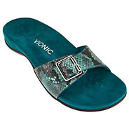 Vionic Orthotic Leather Slide Sandals - Santos - A275729